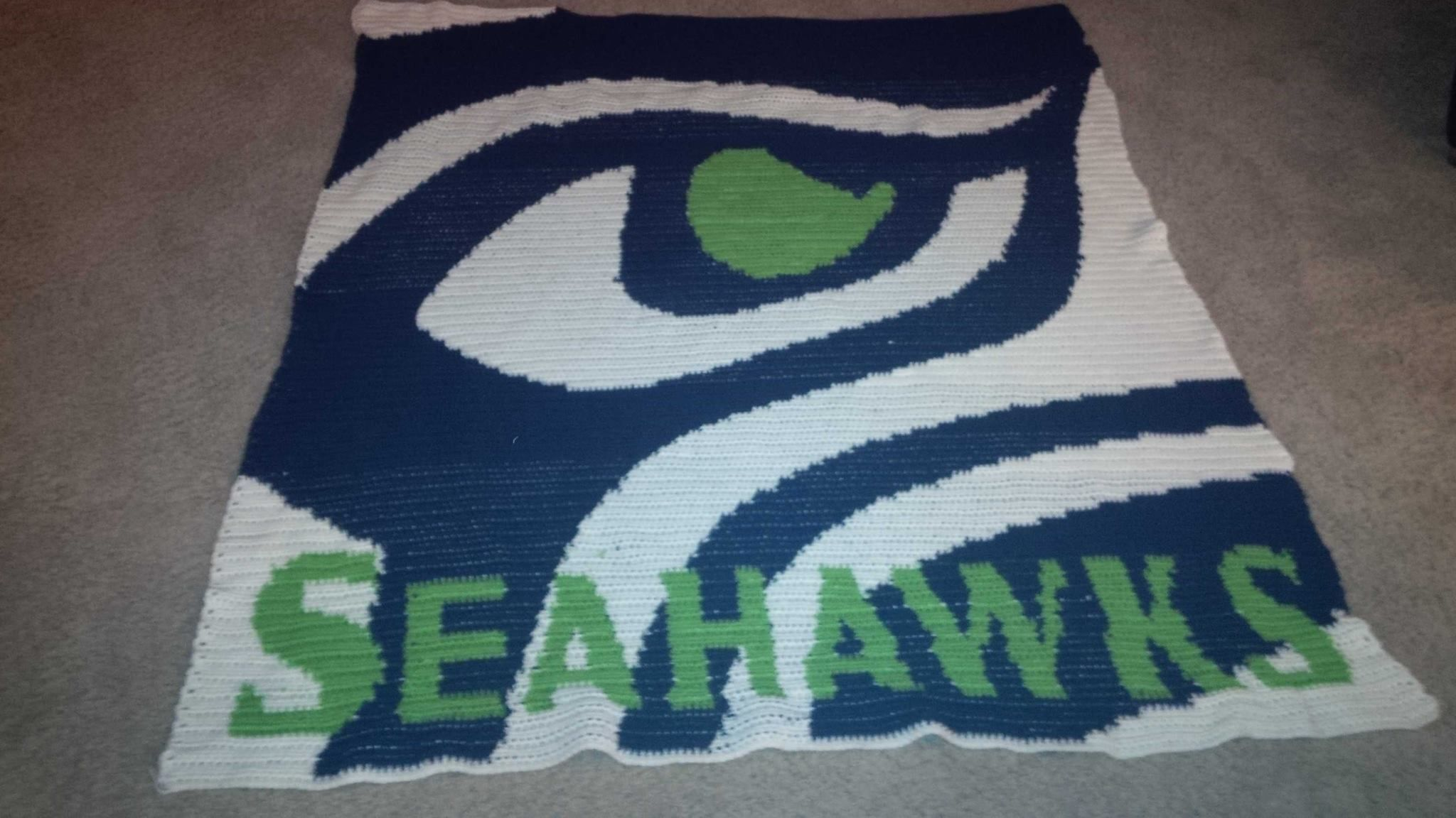 Handmade Crochet Seahawks Blanket Updated To Include