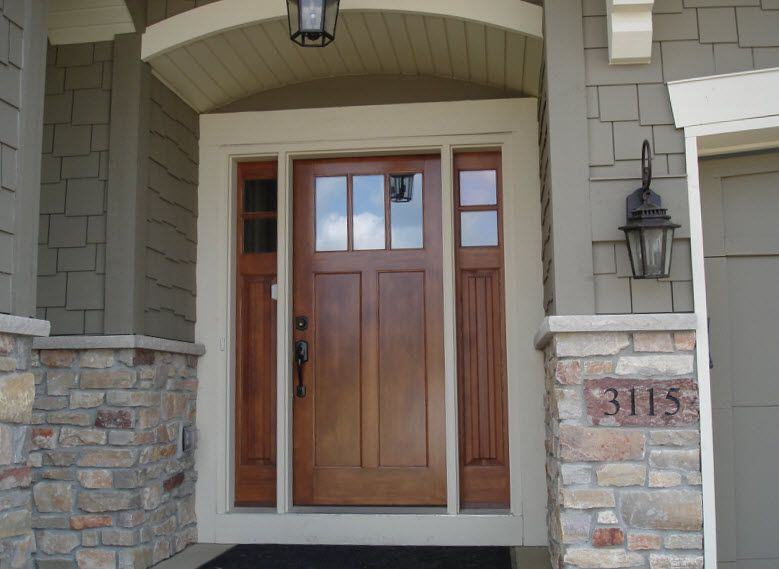 Exterior Doors Craftsman Style Front Door With Double Sidelights Accented By Stone And Shake Craftsman Front Doors Craftsman Style Front Doors House Exterior
