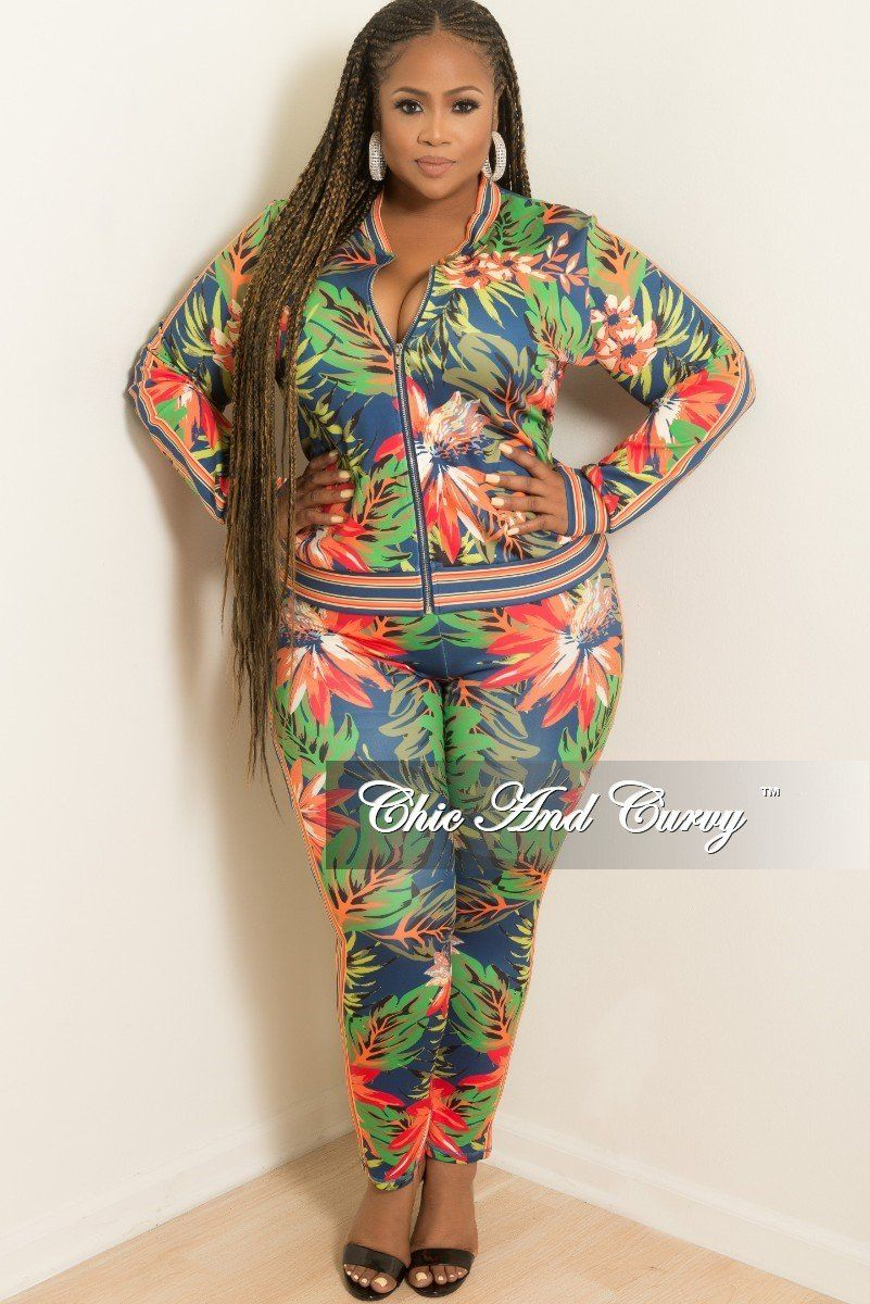 0d3fe71f5ba Plus Size 2-Piece Jacket and Pants Set in Multi Color Floral Print – Chic  And Curvy