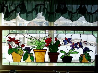 Stained Glass Plants For My Kitchen Window...no Watering Required.