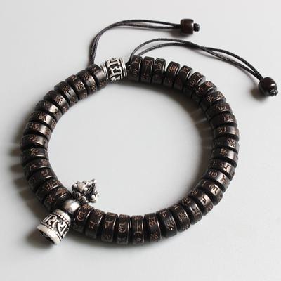 Tibetan Buddhist Hand braided Lucky Bell Bracelet Men/'s Stacking Mantra Coconut