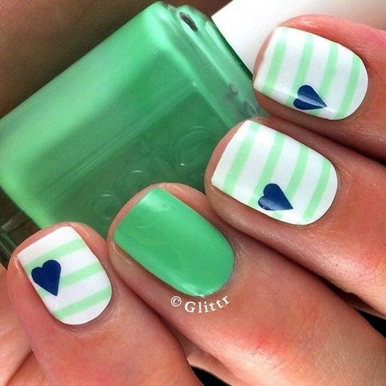 100 Stripes and Tape Nail Art Designs 2018 - Reny styles   nails ...