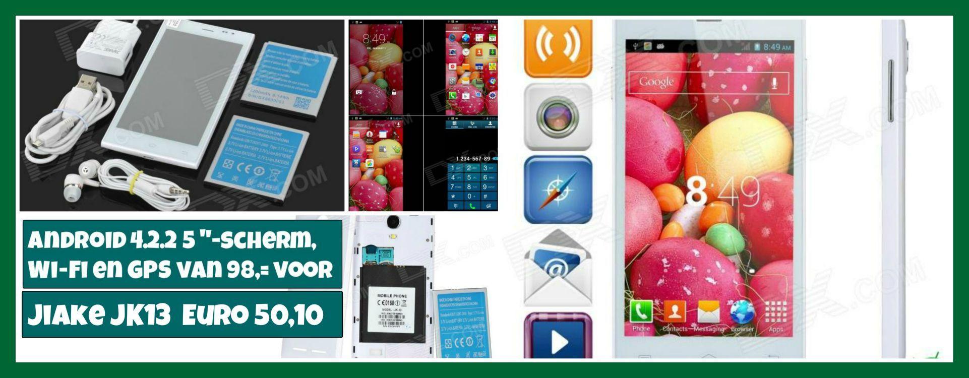 "Jiake JK13 Dual-core Android 4.2.2 WCDMA Bar MOBILE w / 5 ""-scherm, Wi-Fi en GPS - Wit van 98,= voor Euro 50,10"
