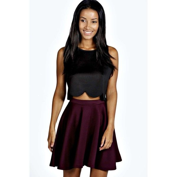 Boohoo Basics Jess Skater Skirt ($14) ❤ liked on Polyvore featuring skirts, berry, maxi skirt, skater skirt, floral midi skirt, floral maxi skirt and black circle skirt