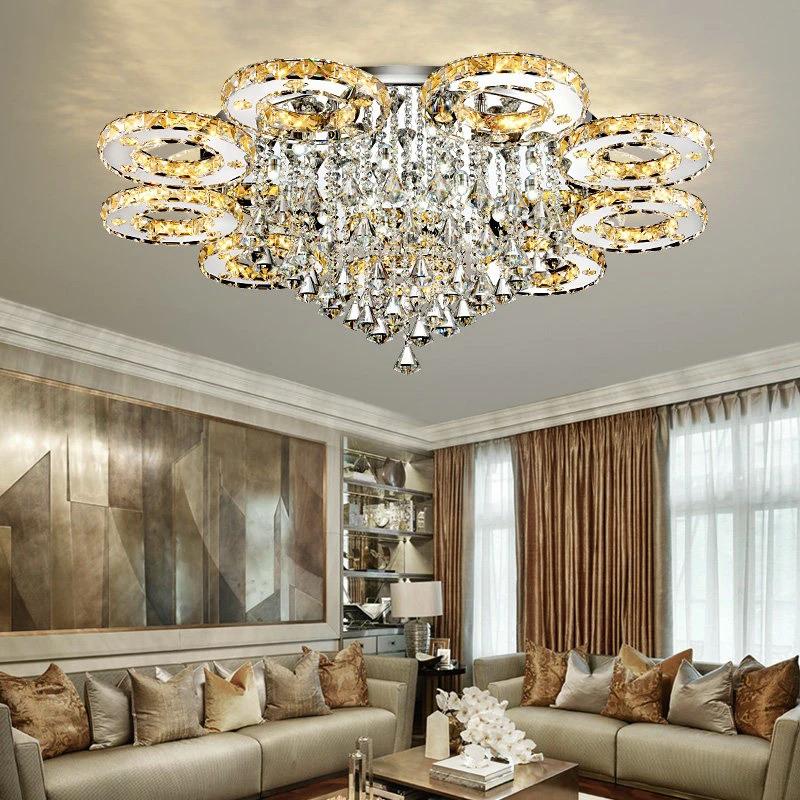 Modern Led Crystal Ceiling Lights For Living Room Luxury Ceiling Lamp Bedroom Crystal Fixture Dining Silver Led Fixture Lighting In 2020 Crystal Ceiling Light Ceiling Lights Living Room Lighting