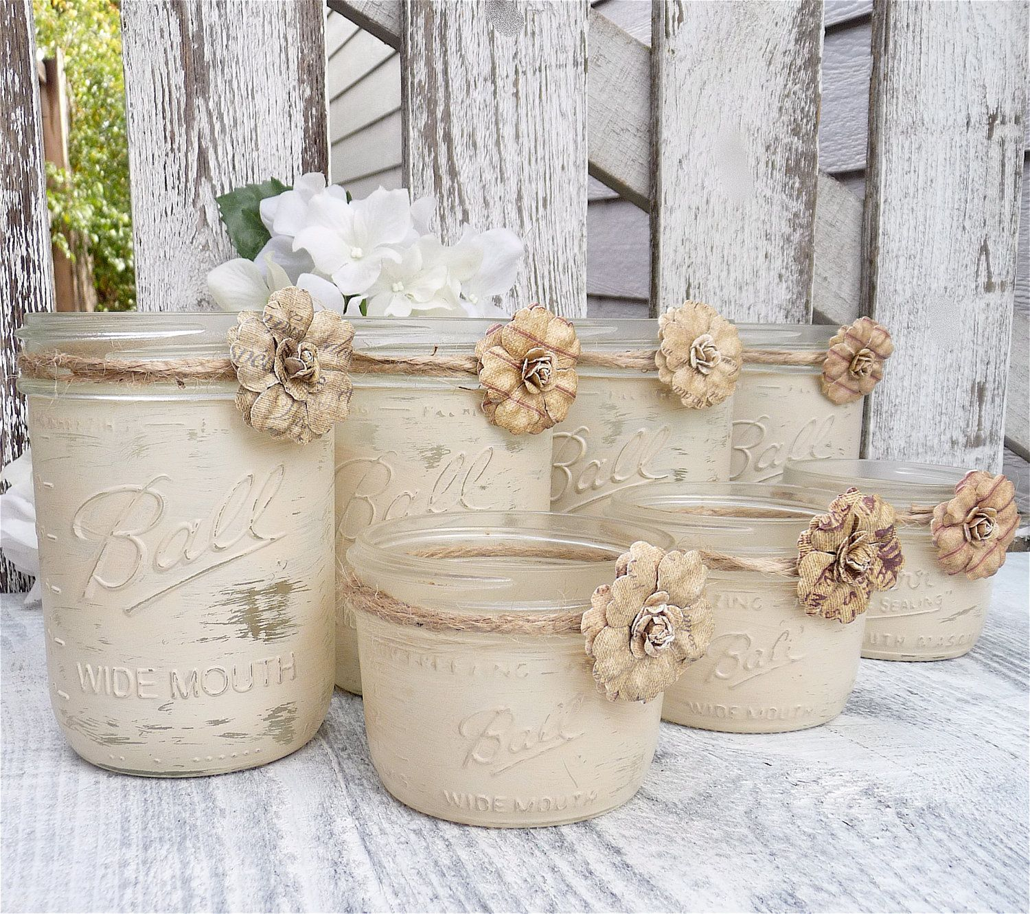Rustic Country Chic Weddings Wedding Shabby Upcycled Decor Candle
