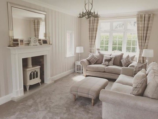Wallpaper For Living Room Ideas Popular Paint Colors Rooms 2014 Mulholland Steel Check Cushion Dream Home Pinterest Laura Ashley Decor Cosy Grey Cottage