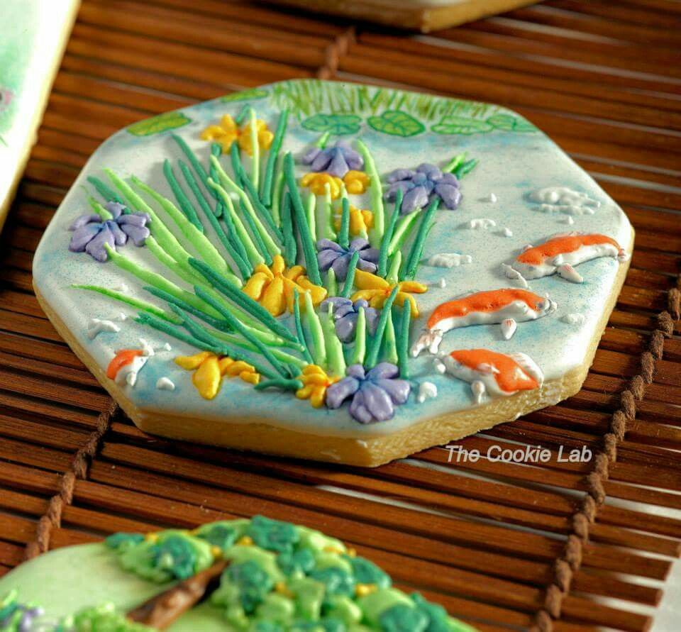 Japanese garden pond koi cookie by the cookie lab for Koi pond labradors