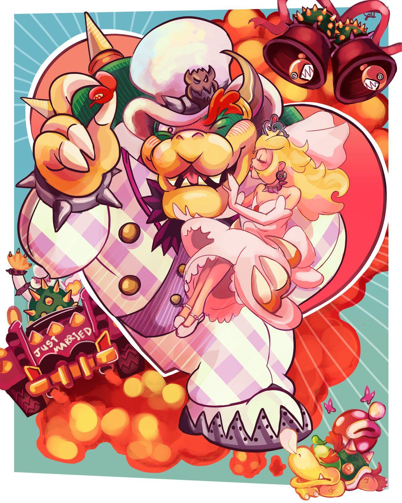 Bowser & Peach, Luke Valentine | Super Mario Girls | Pinterest | Dibujo