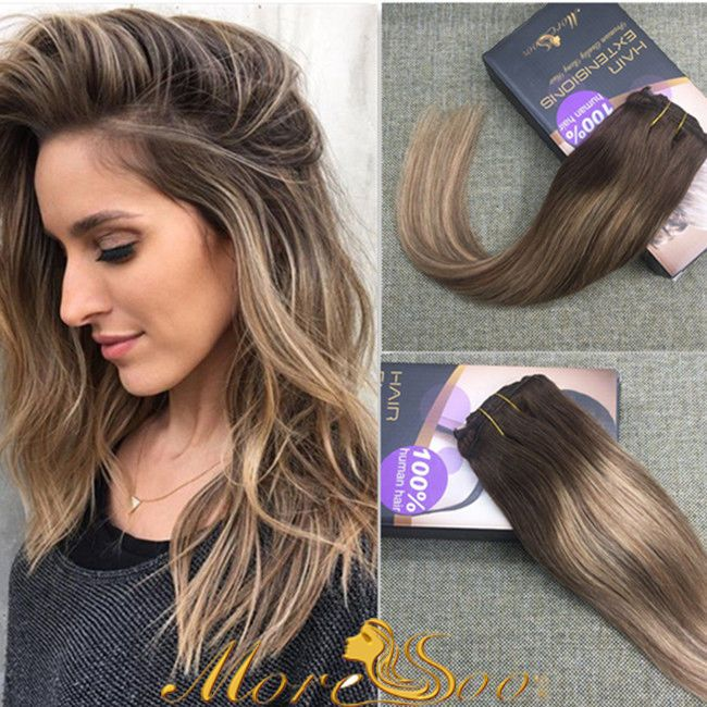 European Remy Balayage Clip In Human Hair Extension New Fashion 7pc