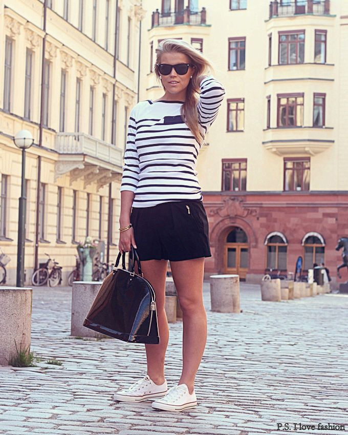 Classic black and white with converse