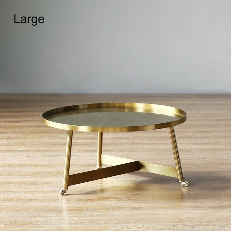 Stylish Gold Coffee Table Small Medium Large Round Rolling Side Table With Wheels Tray Top In 2020 Gold Coffee Table Coffee Table Table