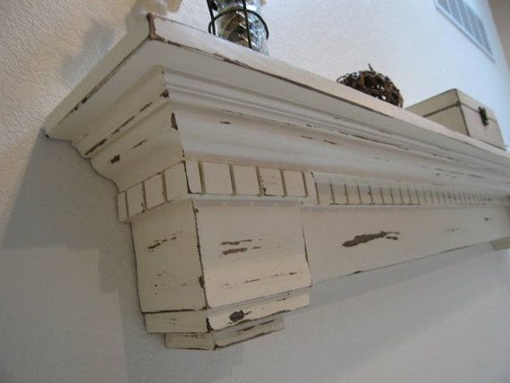 White Distressed Shelf The Duke By Westmillswoodworking On Etsy 275 00 Distressed Fireplace Fireplace Mantels Farmhouse Fireplace Mantels