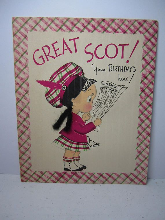 adorable 1940 s norcross susie q birthday card susie dressed in scottish outfit of pink and green tartan plaid tam and kilt real yarn braids