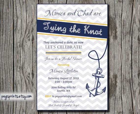 Nautical Bridal Shower Invite Printable By Pegsprints On Etsy 13 00