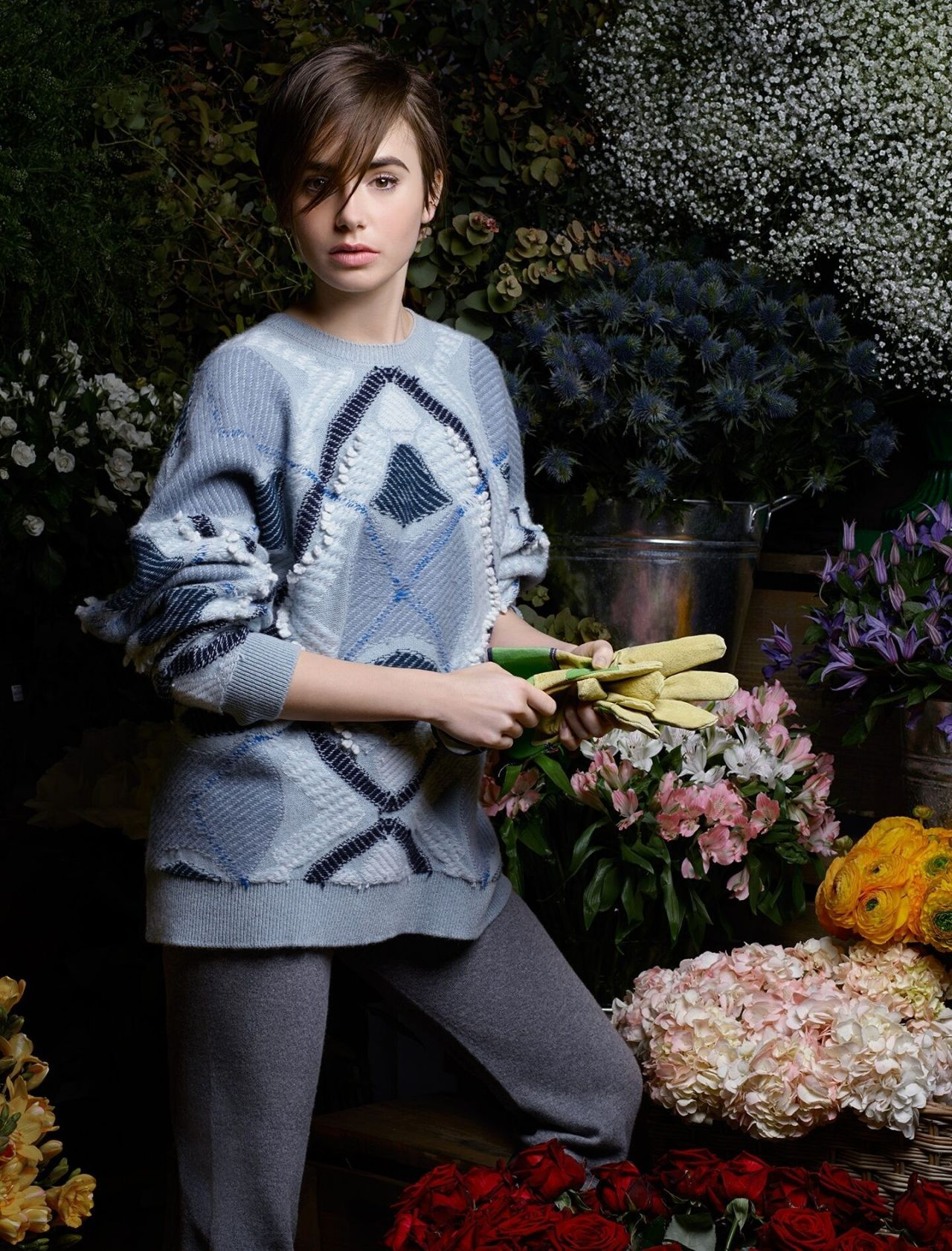Lily Collins - Barrie Knitwear, Fall/Winter 2015 | Lily ...