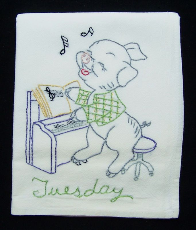 7 Days Of Week Embroidered Pig Dish Towels Cotton Flour Sack Tea New Farm  Animal