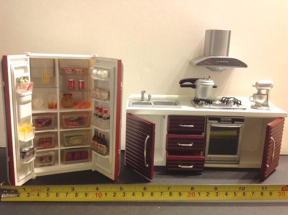 Dollhouse Miniature Modern Kitchen Furniture Burgundy1:12 Stove/Sink/Frigew/Food