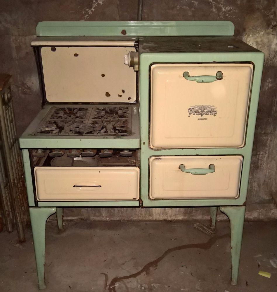 Vintage 1930 Prosperity Gas Stove Rare Kitchen Porcelain Antique ...