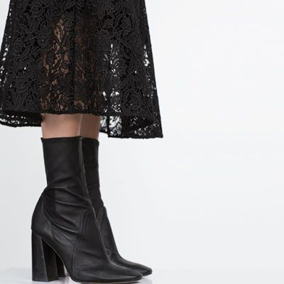 LEATHER HIGH HEEL ANKLE BOOTS from Zara...Black leather high heel ...