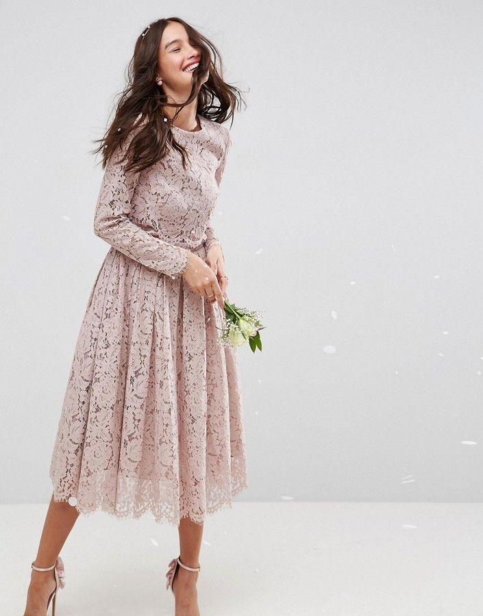 8c47ff043da ASOS WEDDING Lace Long Sleeve Midi Prom Dress  fashion  style  shopping  ad