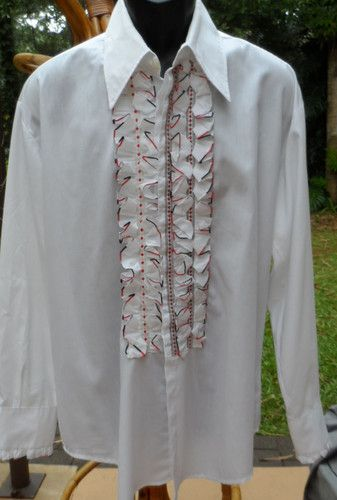 Wild vintg 70s 80s tux shirt w red wht blk ruffled front for Red ruffled tuxedo shirt