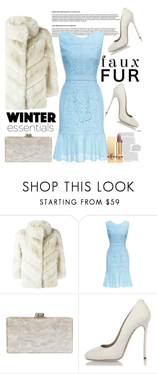 """""""faux fur coat"""" by anilia ❤ liked on Polyvore featuring Yves Salomon, Edie Parker, Dsquared2 and Yves Saint Laurent"""