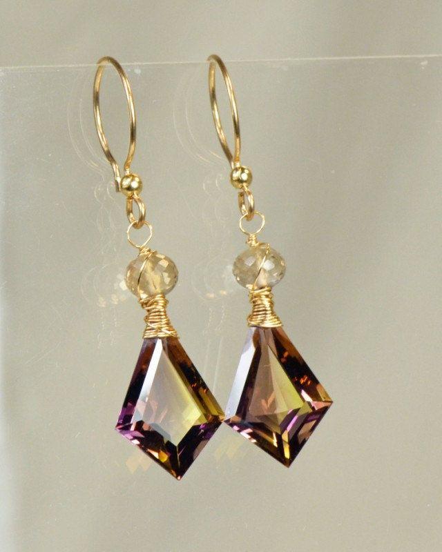 Ametrine Dangle Gemstone Earrings, 14k Goldfilled Wire Wrapped Earrings. $135.00, via Etsy.