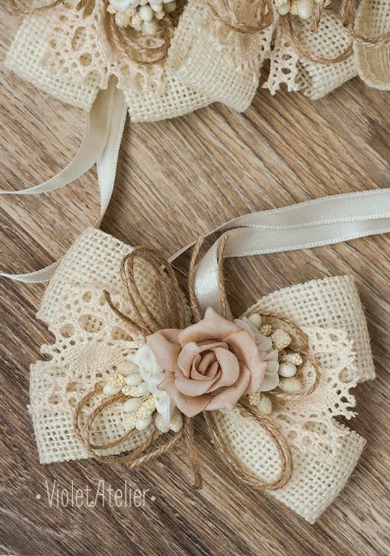 Set of 12 Burlap Flowers in Natural and Ivory with Lace 3.5 Flowers Cake Top Wreath Rustic Decor Centerpiece Wedding Reception Table