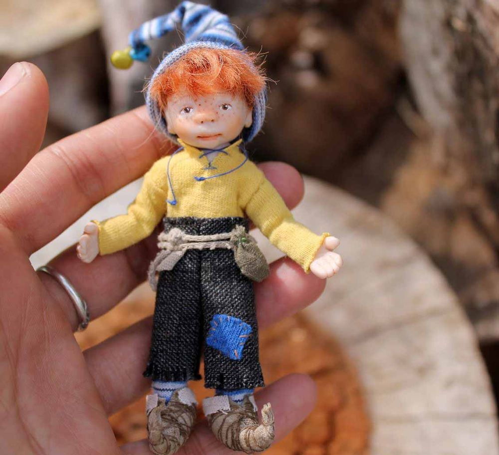 Miniature Handmade Gnome Boy OOAK Artist Dollhouse for 1/12th scale dolls house