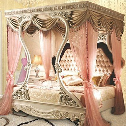 Luxury Design Italian Classical Princess Canopy King Size Bed