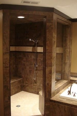 Walk In Shower No Door To Clean Good Idea For Our Bathroom One Day Bathroom Remodel Shower Shower Remodel Master Bathroom Shower