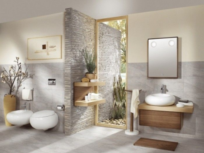 Rustgevende badkamer. Goed gebruik van natuurtinten. | douche ...