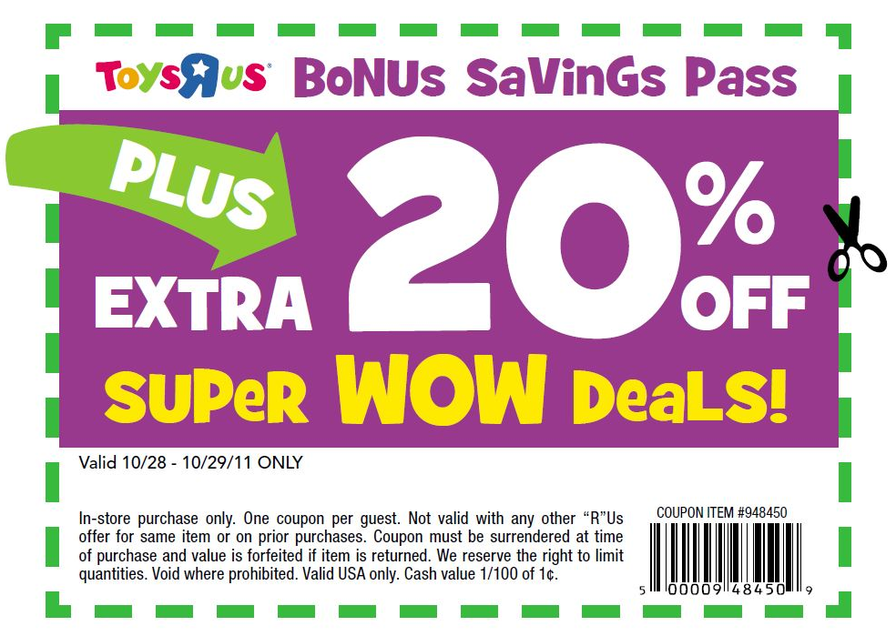 image relating to Printable Toys R Us Coupons referred to as Pinned January 2nd: Additional 20% off tremendous wow bargains at #Toys R