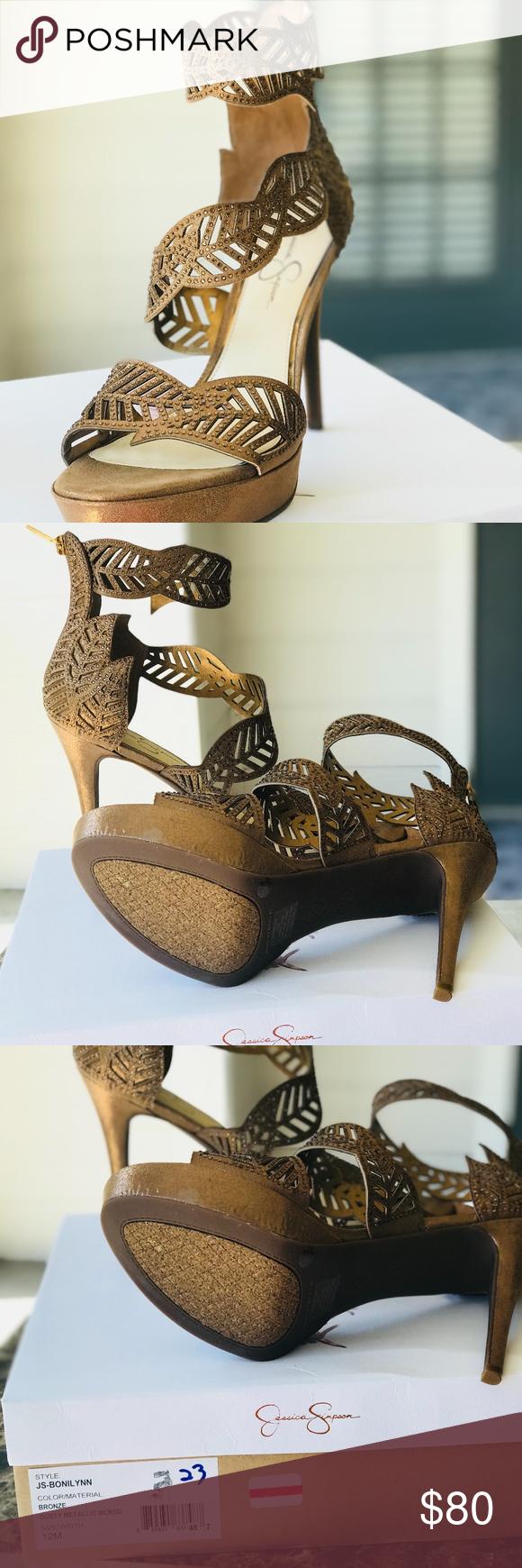 8b4454914d3 Jessica Simpson Bronze Metallic High Heels Size 12 Jessica Simpson Women s  Bonilynn Heeled Sandal Brand new