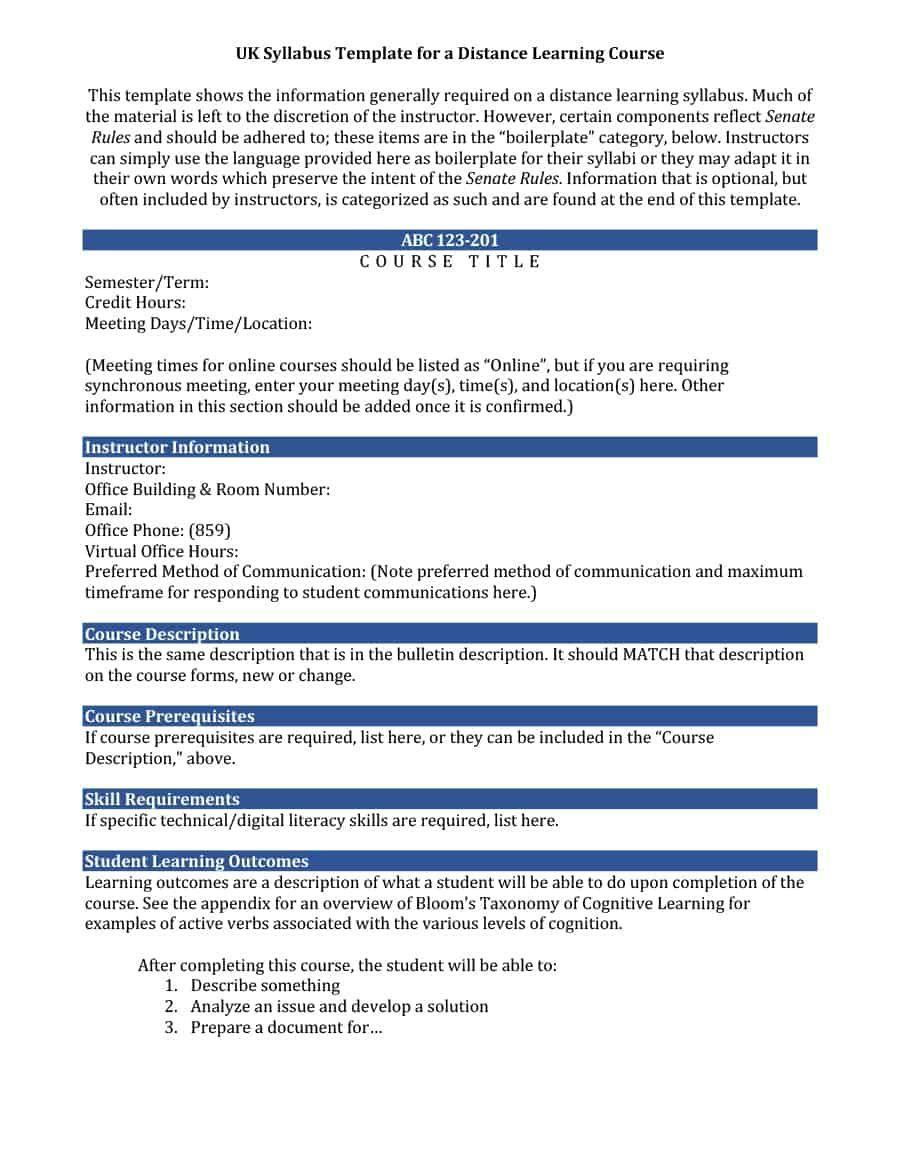The Excellent 47 Editable Syllabus Templates Course Syllabus ᐅ