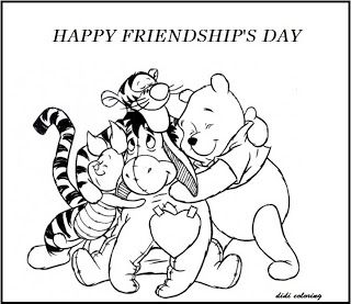 Printable Happy Friendship Day Winnie The Pooh And Friends Coloring Page Cartoon Coloring Pages Valentine Coloring Pages Bear Coloring Pages