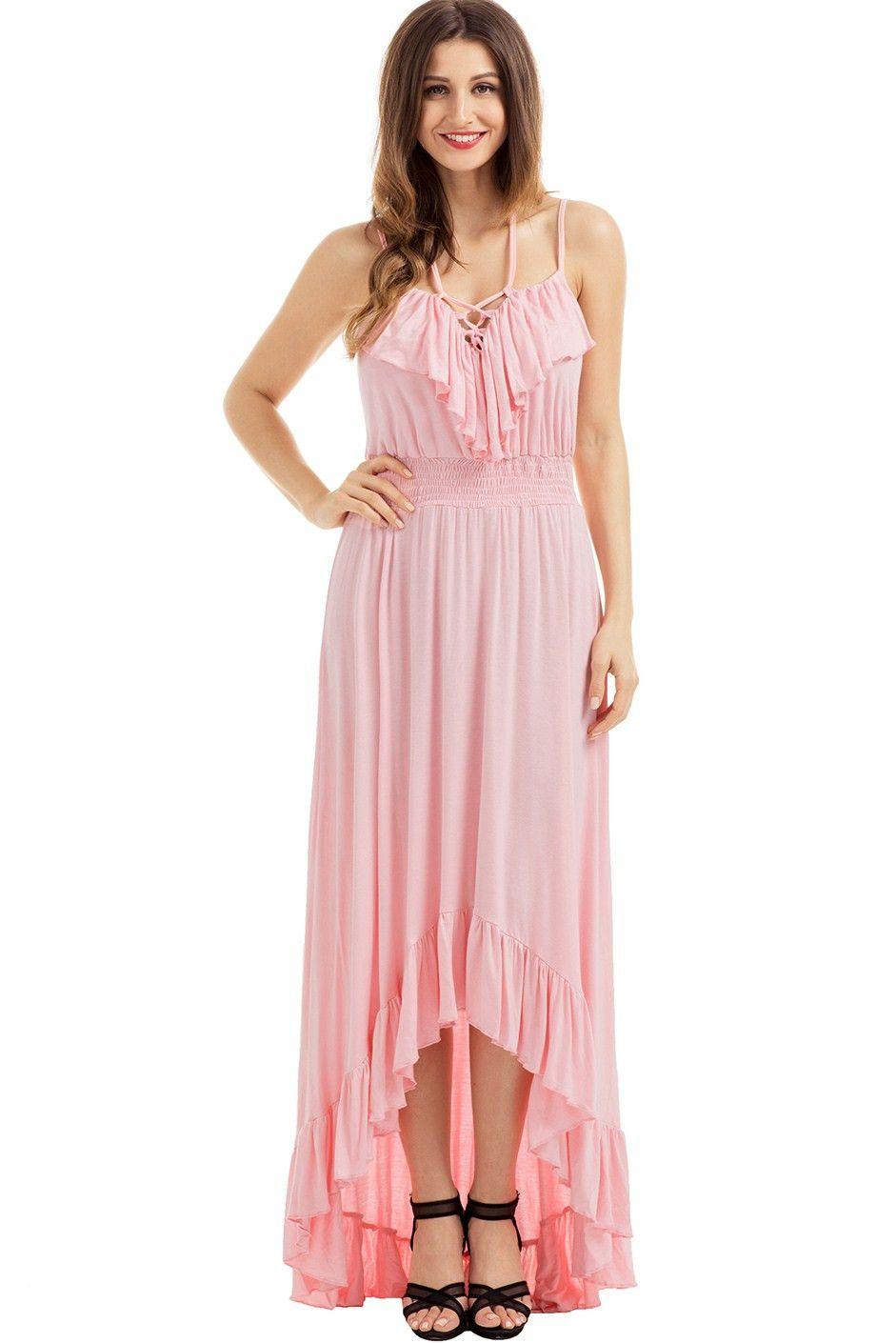 47996014ce8 Robe Longue Rose Salut-Bas Lacets A Bretelles Volants Pas Cher www.modebuy.