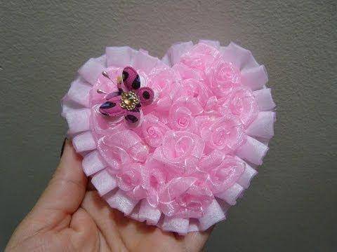 Corazon de flores en cinta organza para decorar accesorios - Cintas para decorar ...