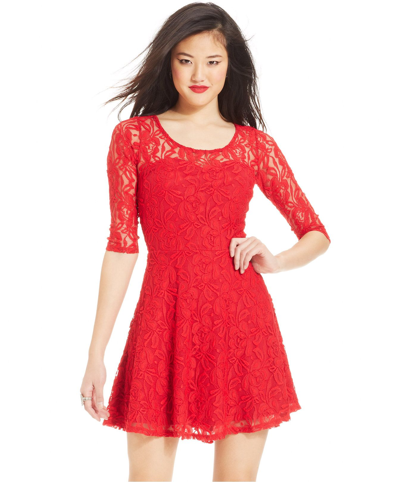 f7be260c34d Material Girl Short-Sleeve Lace Skater Dress - Juniors Dresses - Macy s