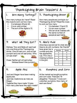 Thanksgiving Thanksgiving Math Games Thanksgiving Math Activities Thanksgiving Math