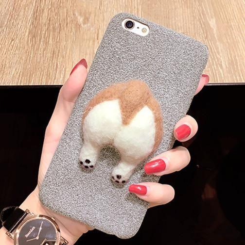 on sale 2d7cc 7367f Handmade Felt Corgi Butt Phone Case | Corgi dog | Phone cases, Corgi ...