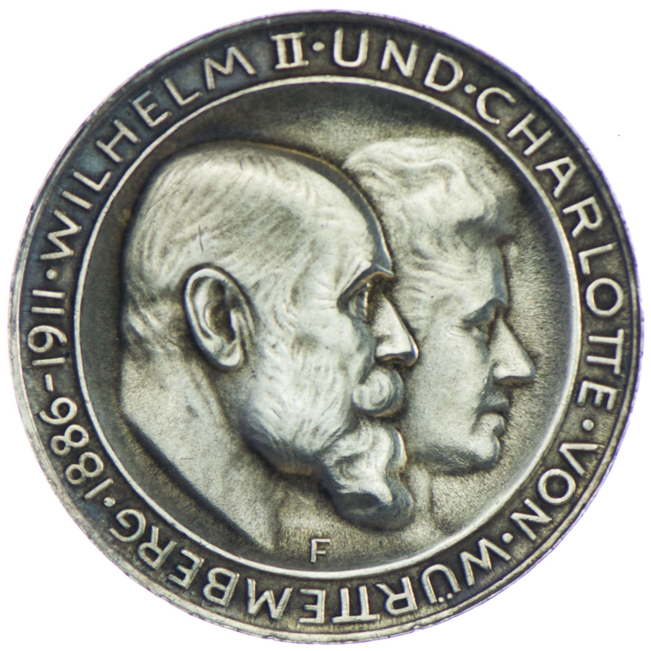 Württemberg, Wilhelm 1891 - 1918 3 Mark 1911 F Silber zur Silbernen Hochzeit