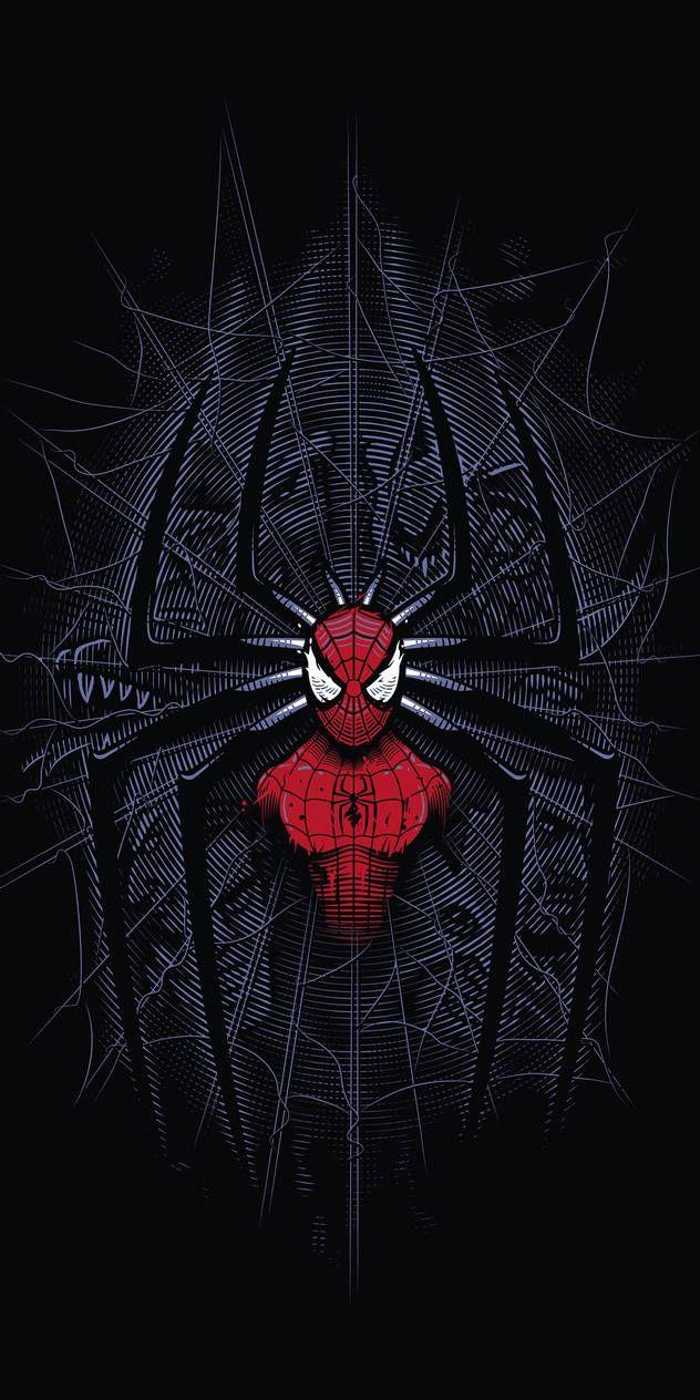 Spider-man, dark, minimalist, digital art, 1080x21 by MAXBOOSTED on DeviantArt