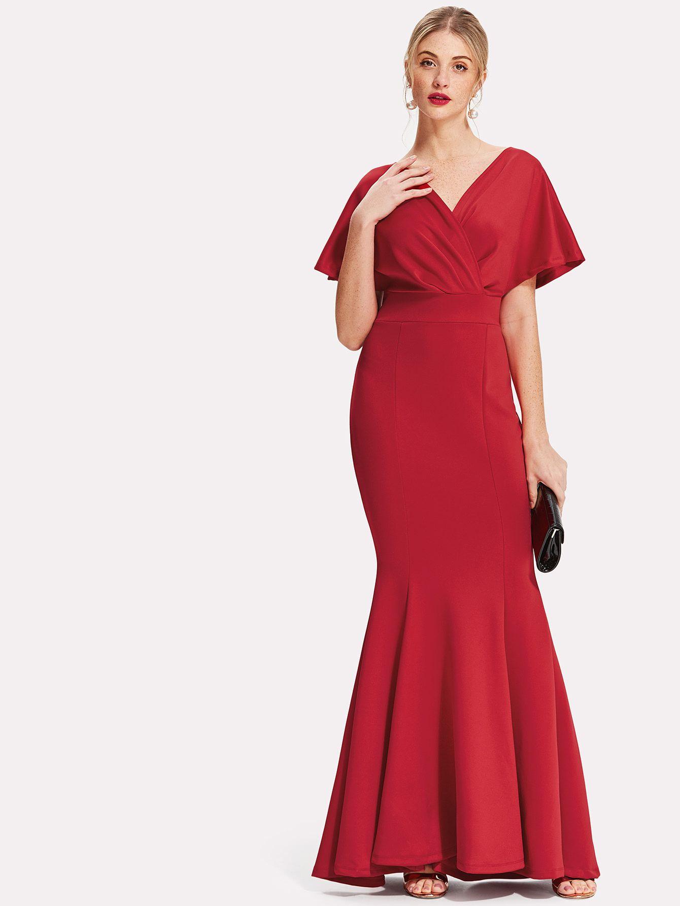 b77e15723a Surplice Neckline Fishtail Hem Dress -SheIn(Sheinside) | Formal Wear ...