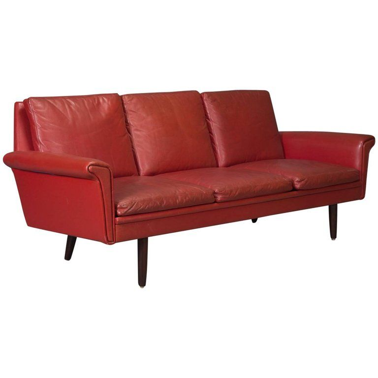Red Leather Danish Modern Sofa Danish Modern Sofa Modern Sofa