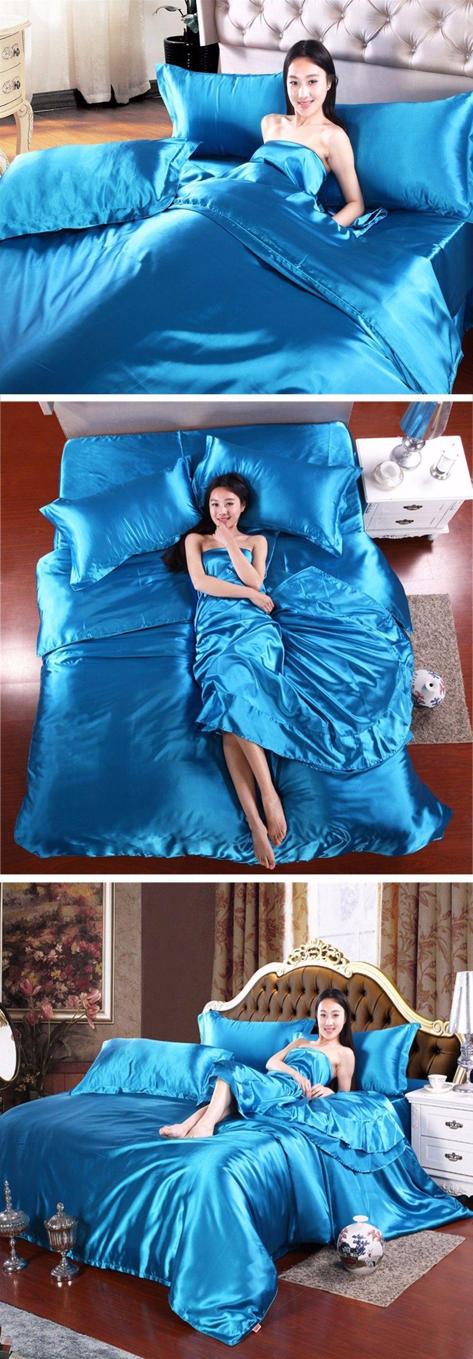 Aliexpress Com Buy Beddingoutlet Bedding Set Silky Sheet Chinese Silk Bedspreads King Size Purple Blue Bed Li Purple Bedding Satin Bedding Blue Linen Bedding