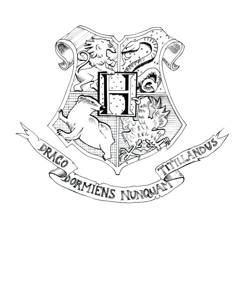 Hogwarts crest coloring page free coloring kids coloring pages