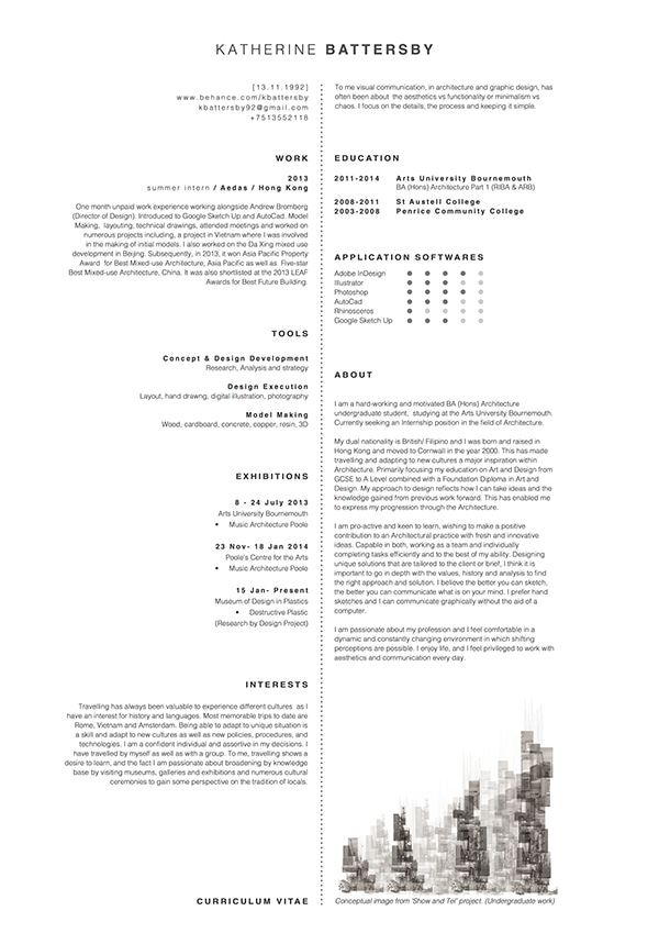 Architecture CV on Behance CVs Pinterest Behance, Portfolio - resume font type