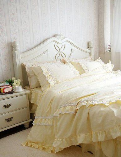 Amazon Com Shabby And Elegant Light Yellow Lace Ruffle Duvet Cover Bedding Set King Size Home Yellow Bedroom Decor Ruffle Duvet Cover Beautiful Bedding Sets
